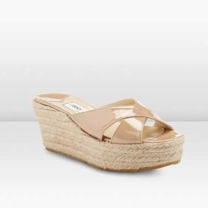 Jimmy Choo Paisley Nude Patent Leather Espadrilles